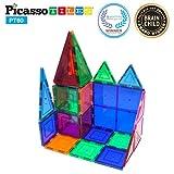 "PicassoTiles® 60 piece set Magnet Building Tiles Clear 3D color Magnetic Building Blocks - Creativity beyond Imagination! - Educational, Inspirational, Conventional, and Recreational!"""