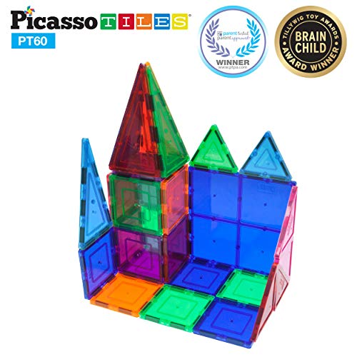 PicassoTiles 60 Piece Set 60pcs Magnet Building Tiles Clear Magnetic 3D Building Blocks Construction Playboards - Creativity beyond Imagination, Inspirational, Recreational, Educational, -