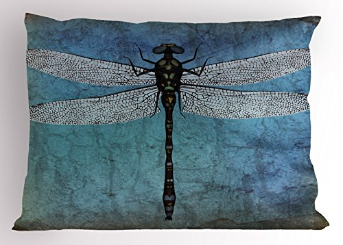 Dragonfly King (Dragonfly Pillow Sham by Ambesonne, Grunge Vintage Old Backdrop and Dragonfly Bug Ombre Image, Decorative Standard Queen Size Printed Pillowcase, 30 X 20 Inches, Dark Blue Turquoise and Black)