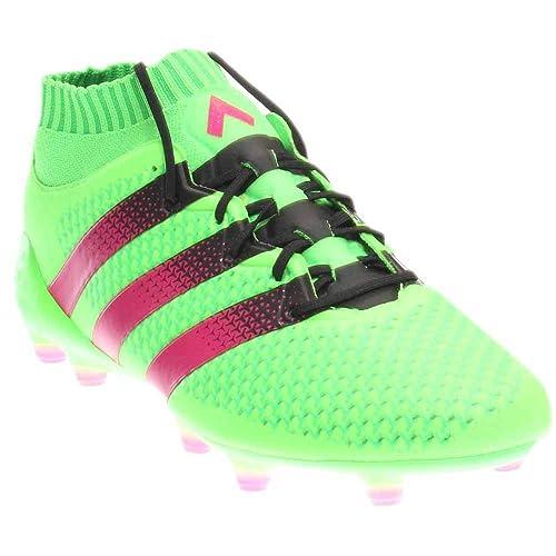 reputable site 9f8b2 26860 Adidas Ace 16.1 Primeknit Fg   ag Tacos de fútbol (SZ. 6.5) solar verde,  Rosa Choque  Amazon.es  Zapatos y complementos