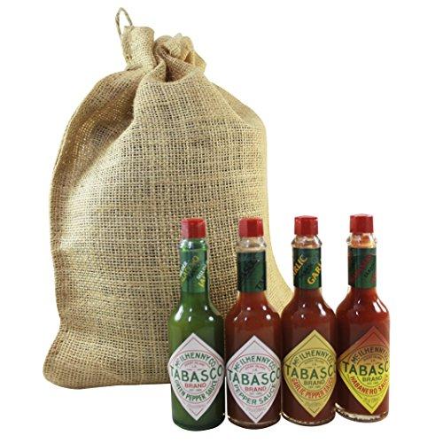Tabasco Hot Sauce Variety Assortment Gift Set Featuring Garlic, Extra Hot Habanero, Original, and Jalapeno