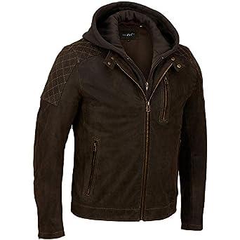 Black Rivet Mens Hooded Leather Cycle Jacket W/ Diamond ...