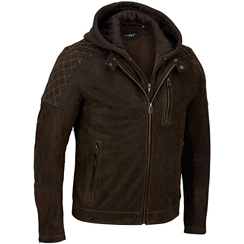 Black Rivet Mens Hooded Leather Cycle Jacket W/ Diamond Topstitching 2XL Brown (2xl Brown Leather Jacket)