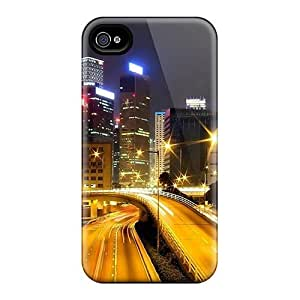 linJUN FENGTpu Shockproof/dirt-proof Busy Street Cover Case For Iphone(4/4s)