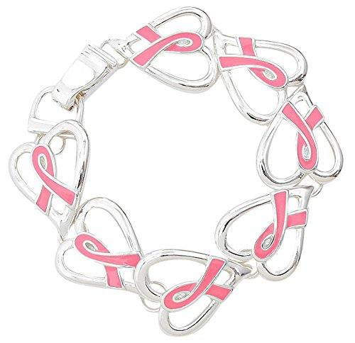 Heart Shaped Pink Ribbon Breast Cancer Awareness Silver Tone Magnetic Bracelet