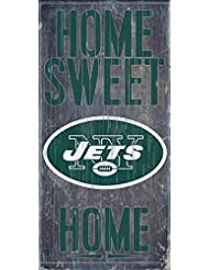 New York Jets Official NFL 14.5 inch x 9.5 inch Wood Sign Home Sweet Home by Fan Creations 048500