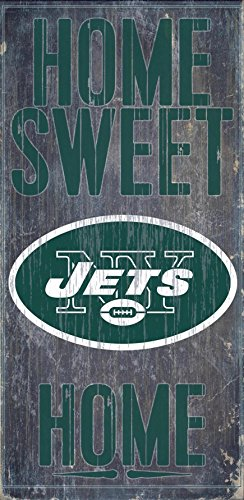 New York Jets Official NFL 14.5 inch x 9.5 inch Wood Sign Home Sweet Home by Fan Creations - Outlets Malls New York