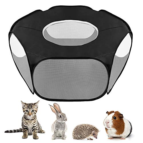 """Lukovee Small Animal Playpen, 39.3""""x15"""" Foldable Pet Cage with Top Cover Anti Escape, Breathable Transparent Indoor…"""