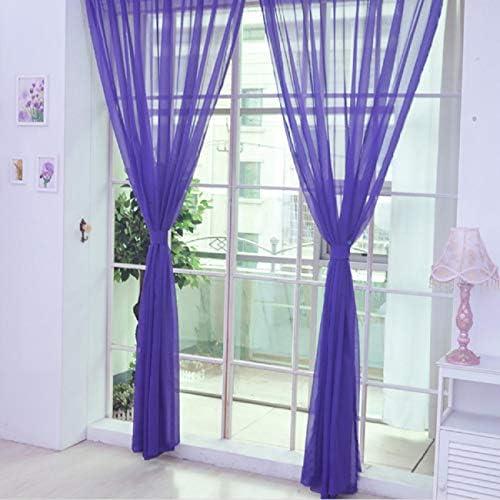 Cinhent洗えるピュアカラーチュールドア窓カーテンドレープパネル薄手のスカーフバランス用寝室用リビングルーム&キッチン家の装飾遮光ブラインド&ドレープ小窓用