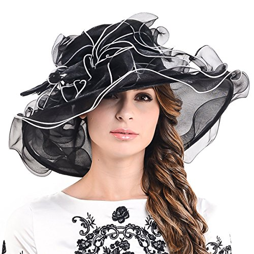 Lightweight Kentucky Derby Church Dress Wedding Hat #S052 (S056-Black)