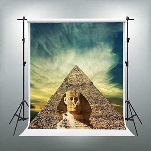 GESEN Sunset Backdrop 7X5ft Egyptian Pyramids Sphinx Background Themed Party Photography Backdrops Video Studio Props (Egyptian Themed Wedding)