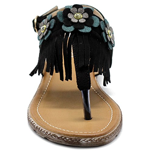 T Flat Zori strap Ollio Fringe Women's Black Shoe Floral Sandal wqqIgv7