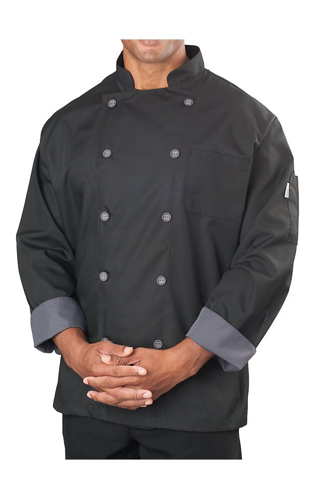 KNG Mens Long Sleeve Active Chef Coat, Black with Slate Accent, 2XL