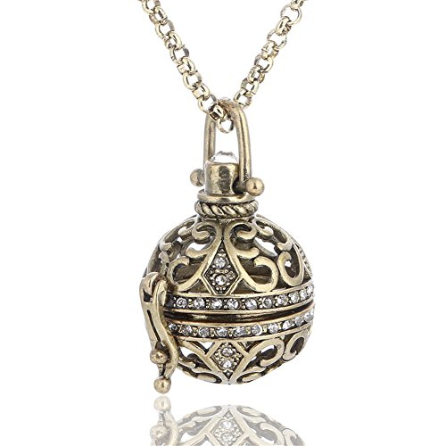 Vintage Crystal Filigree Ethnic Tribal Aromatherapy Essential Oil Diffuser Charms Pendant Perfume Oil Locket Necklace