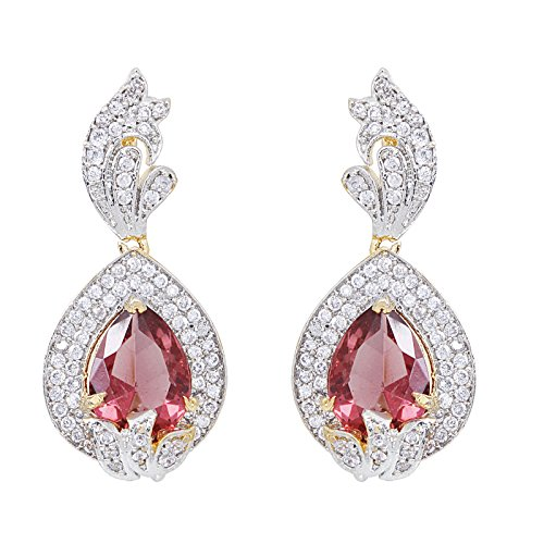 Fasherati Pink Crystal With Cz All Around Pendant Set For Women