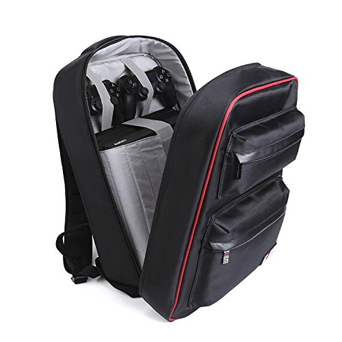 Universal Gaming Backpack,PS4 Backpack Travel Game System Carrying Case Storage Bag for Sony Playstation 4/PS4 Slim/PS4 Pro/Xbox ONE/XB1S/Xbox ONE X/WII U/PS3/XBOX 360 Systems and Accessories,Black (Best Racing Game For Vita)