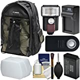 Canon 200EG Deluxe Digital SLR Camera Backpack Case LP-E17 Battery & Charger + Flash + Diffuser + Remote Kit Rebel T6s, T6i, T7i, EOS 77D