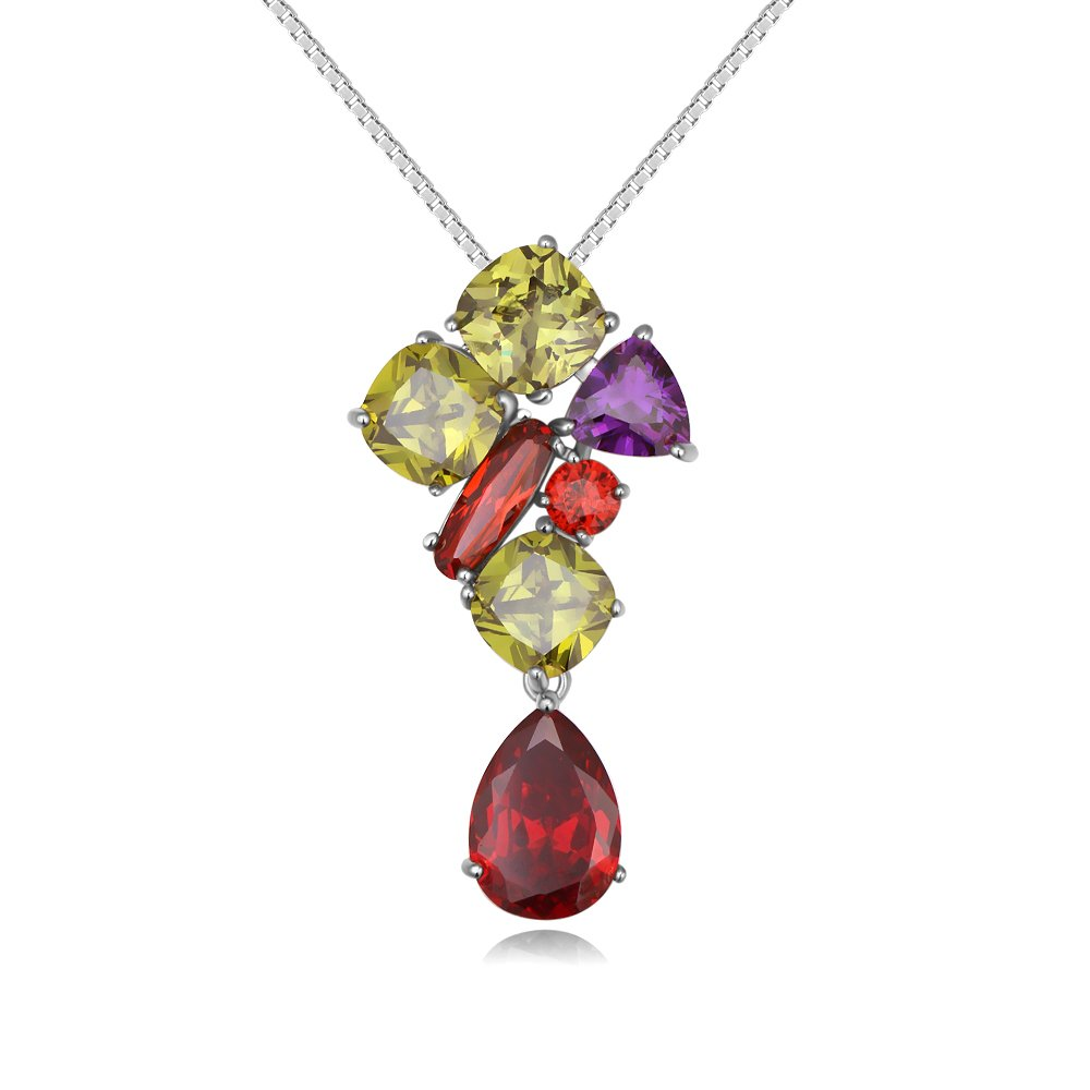 FresherAcc Colorful Cubic Zirconia Prong Setting Necklace Pendant for Women