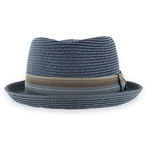 Belfry Men/Women Summer Straw Pork Pie Trilby Fedora Hat in Blue, Tan, Black (Maxxblue, X-Large)