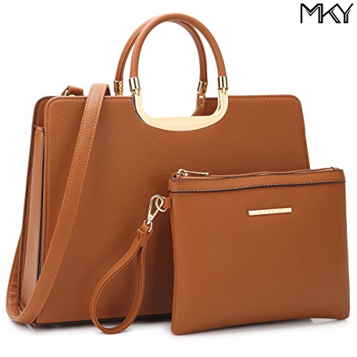 Large Leather Satchel Handbag Designer Purse Wallet Set Shoulder Bag Brown by MKY