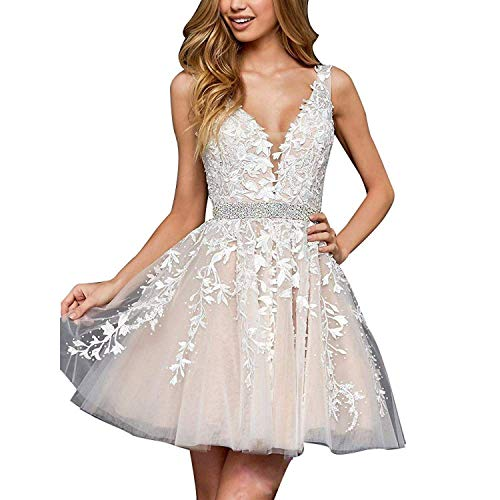 (Homecoming Dress Short Lace Applique Beaded Formal Prom Dress V Neck Straps Bridesmaid Gowns Ivory US 4)