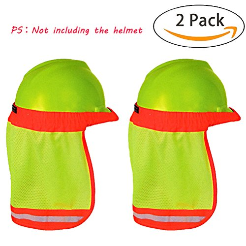 [2PCS] Hard Hat Sun Shade, High Visibility and Reflective Full Brim Mesh Sun Shade Protector (Hard Hat Not Included) by Bagvhandbagro