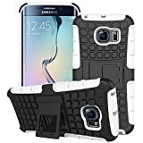 Tech Express (Tm) White Rugged Textured Kickstand Defender Armor Grenade Grip Heavy Duty Hard Cover Case for Samsung Galaxy S6 G920
