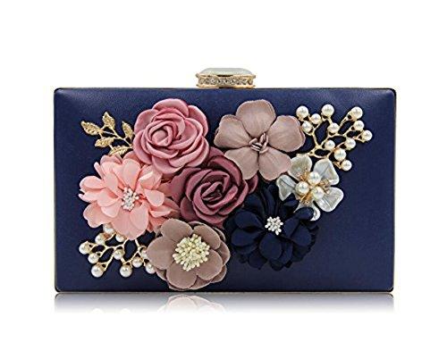 à de à Embrayages main sac main mariage Sacs d'embrayage Femmes Blue Sacs de Fleur soirée qYTaUS