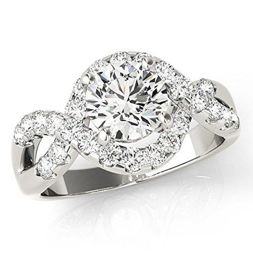 Scintilenora Infinity Criss Cross Halo Diamond Engagement Ring 18k Gold 1 3/4 TDW