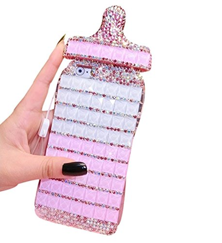 Rejected all traditions iPhone 5/5S/SE TPU Case, Bling Diamond Decal Baby Bottle Shape Soft TPU Shock Resistant Scratch Proof Protective Back Cover for iPhone 5/5S/SE(Pink) (Shape Round Face Frame For Best)