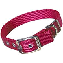 Hamilton Double Thick Nylon Deluxe Dog Collar, 1-Inch by 22-Inch, Red