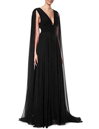 ec54977b78 Jicjichos Women's Deep V-Neck Prom Dress Shoulder-Streamers Draped Silk  Chiffon Long Evening