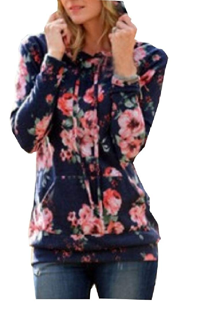 Yayu Women Pullover Sweatshirt Autumn Winter Floral Print Loose Hoodie Tops Blouse
