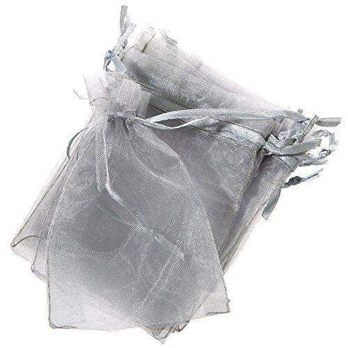 Q.J. Import, Inc Mini Silver Organza Drawstring Bags ()