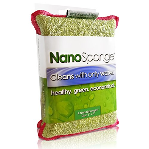 Nano Sponge Cleaning Sponges. Supersized Everyday Heavy Duty Household Kitchen and Dish Sponge. 2 pack. 6 x 4