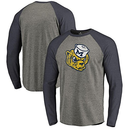 Fanatics Branded Michigan Wolverines College Vault Primary Team Logo Big & Tall Long Sleeve Tri-Blend Raglan T-Shirt - Ash (5XL) - Mens College Big Logo Tee
