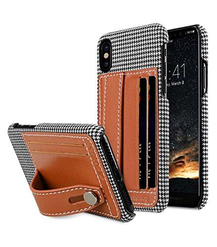 Melkco Holmes Serie Tabak Echt Leder Dual Card Slot mit Stand Case für Apple iPhone X - (Braun)