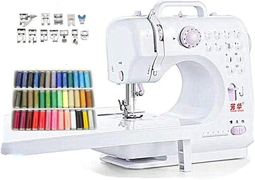 Máquina de coser eléctrica, portátil Máquina de coser con la extensión de la mesa y Líneas de color para coser Principiante hogar
