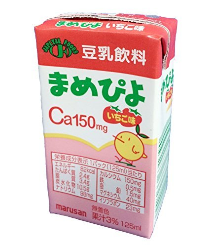 Mamepiyo strawberry flavor 1 case 125mlX24 this calcium-fortified (150mg containing) by Mamepiyo