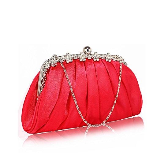 LeahWard Damen Satin Unterarmtasche Damen Hochzeit Braut Abend Taschen Geldbörsen Handtaschen CW88 (Mittel Smaragd 27x6x14cm) Mittel Rot 27x6x14cm