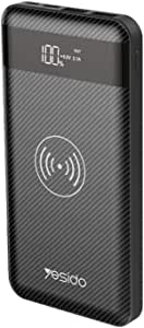 Yesido 10000mAh wireless charger Power bank with Built-in LCD and LED indicator, 3 types input includes mico, type-c, lightning input, 2.1A Output, lightweight portable wireless powerbank - Black
