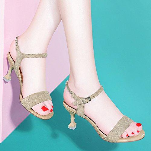 VIVIOO Sandalias De Mujer Sandalias De Tacón Alto Tacones De Aguja De Verano Tacones Altos Estudiantes Con Gatos Salvajes Y Zapatos De Verano Beige