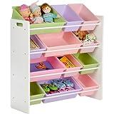 Kids Storage Toy organizer with multi size storage bins Honey can do wooden