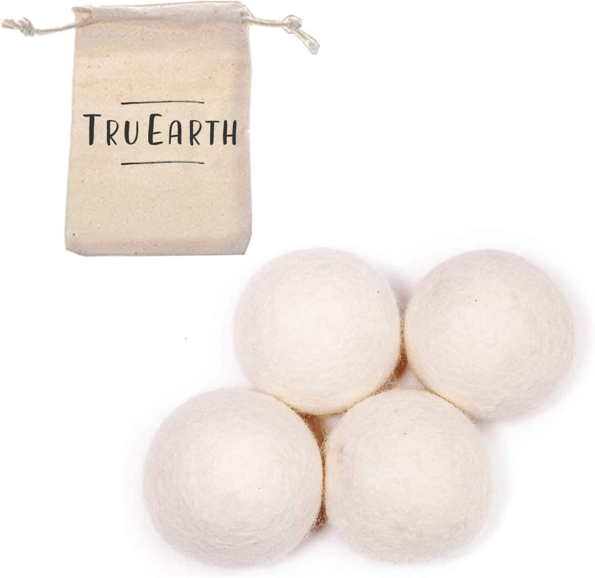 Wool Dryer Balls by Tru Earth 4-Pack, XL Premium Reusable Natural Fabric Softener (4)