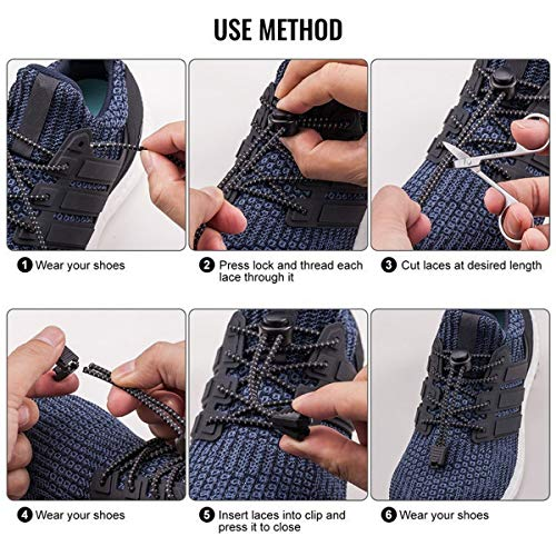 No Tie Shoelaces, Reflective Elastic Lock Shoe Laces by iLiveX, One Size Fits All Adult and Kids Shoes (Black)