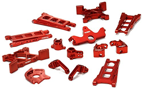 Alloy Rear Chassis Plate - Integy RC Model Hop-ups T8595RED Billet Machined T2 Conversion Kit for 1/10 Stampede 4X4 & Slash 4X4 (Non-LCG)