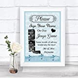 Blue Shabby Chic Vintage Jenga Guest Book Personalized Wedding Sign Poster