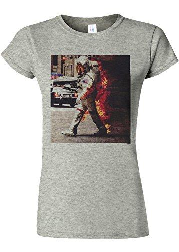 レコーダー優先権間欠Burning Astronaut Space Galaxy Novelty Sports Grey Women T Shirt Top-S
