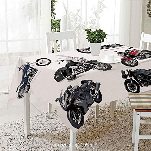 (Wrinkle Free and Stain Resistant Tablecloth,Unique Original Motorcycles Set Freestyle Action Life with Winged Wheels Hobby Print,Spill Proof,Machine Washable,Tablecloth for Use(55.11