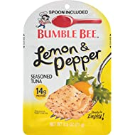 BUMBLE BEE Lemon and Pepper Seasoned Tuna Pouch with Spoon, Tuna Fish, Gluten Free, Keto Snack, High Protein, Bulk Snacks, 2.5 Ounce Pouch (Pack of 12)